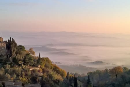 Romantic Room with View of Val d'Orcia