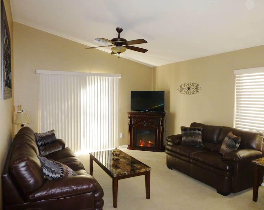 During the winter months there is a nice electric fireplace for a cozy evening of watching Television or just a good book to read.