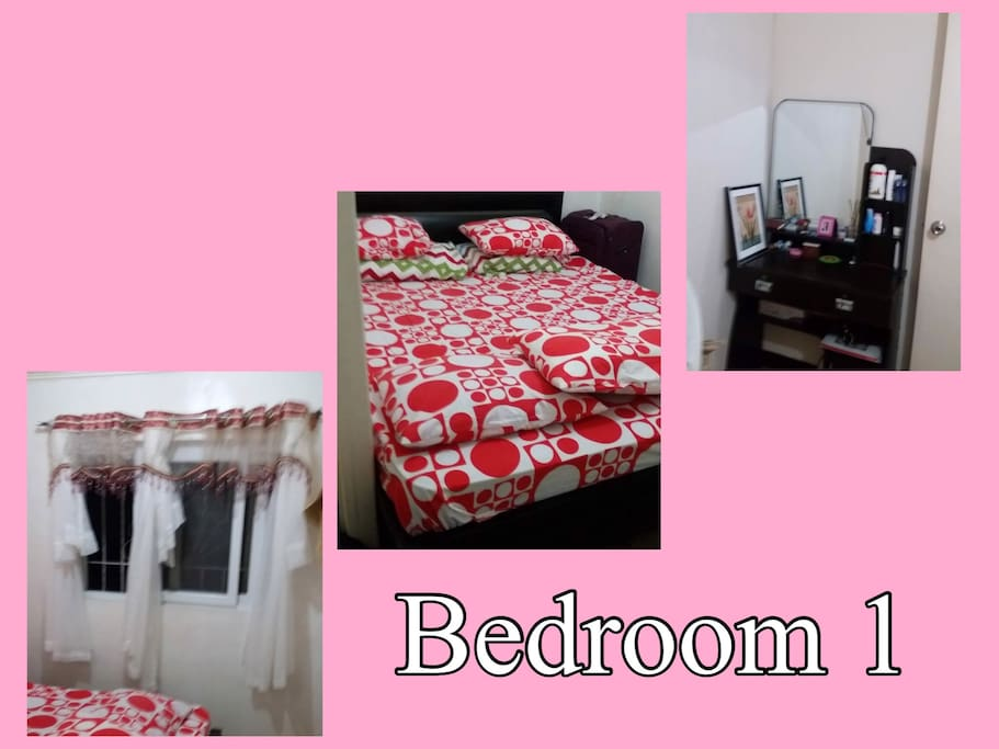 Queen size bed | closet | cabinet with mirror | electric fan
