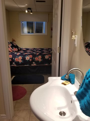 Bathroom looking out on one if the sleeping areas
