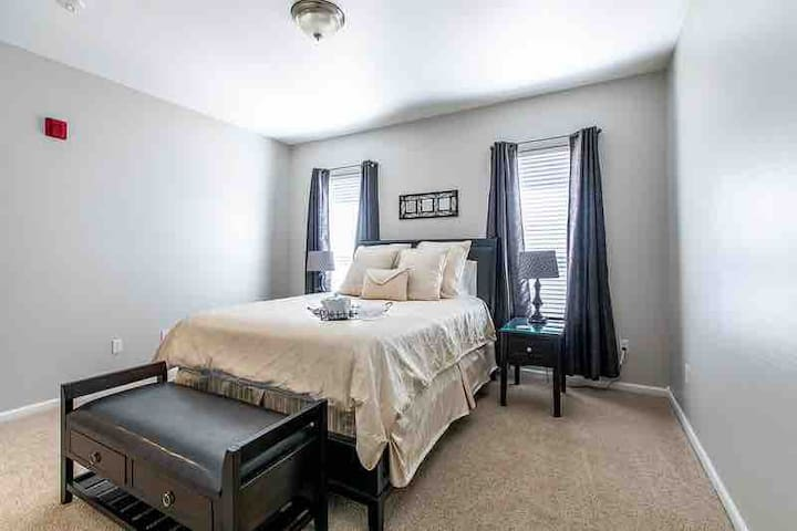 Master bedroom, blackout shades and master door locks, for your privacy.