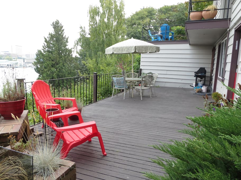Your spacious, private, outdoor patio overlooking Portage Bay