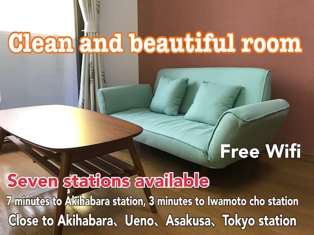 NEW OPEN!8min to Akihabara!Free WIFI! Near Asakusa
