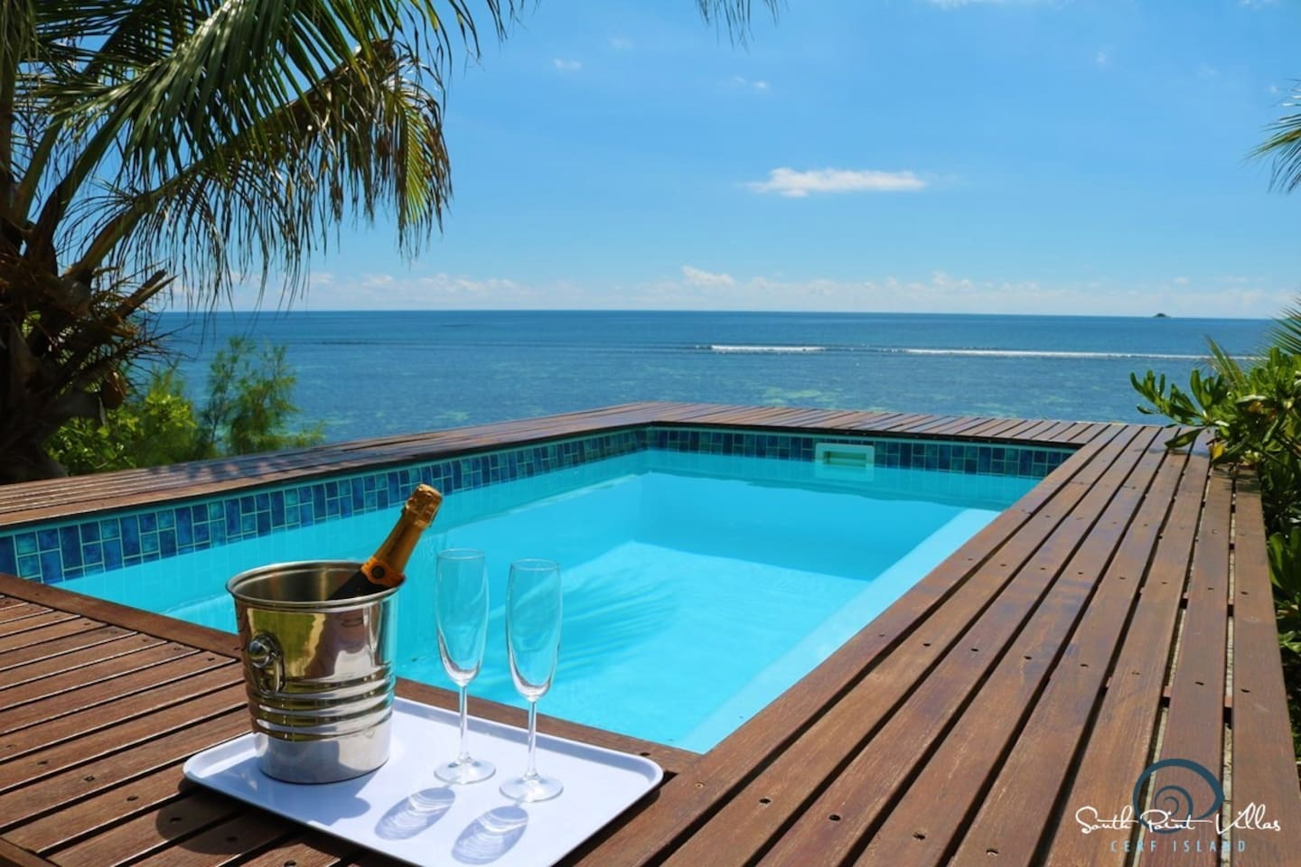 Private pool at the water's edge...