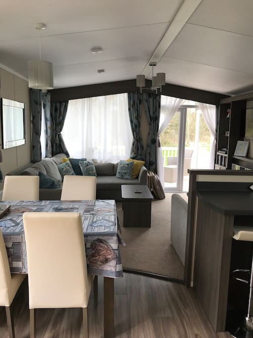Spacious Kitchen/ Lounge with Patio Doors leading on to spacious decking