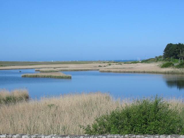 Morbihan, maison avec jardin Vue etang et Mer