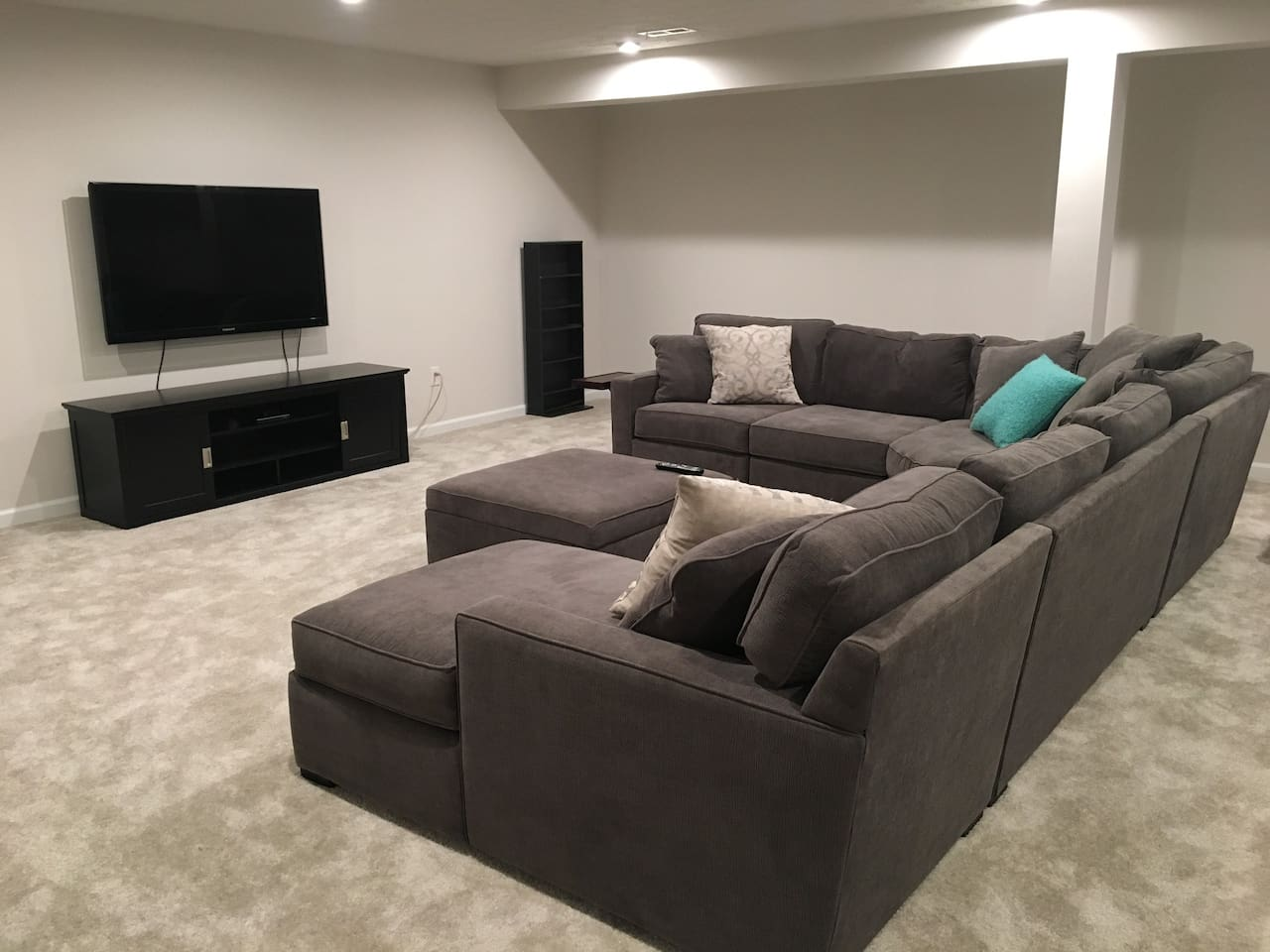 Great comfy sectional and big screen tv!