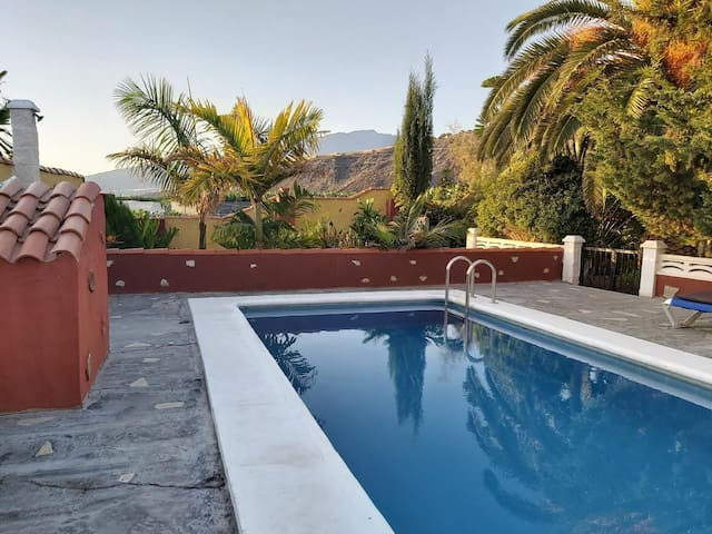 Country house with private pool surrounded by banana plantations near Puerto Naos