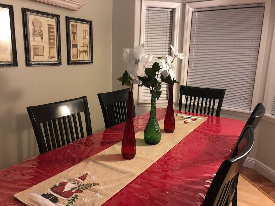 Savor a festive meal at our large dining room table.