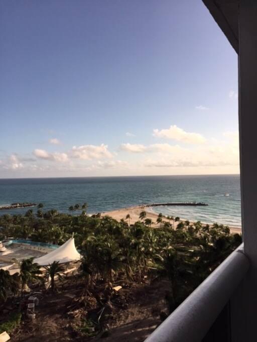 Balcony view overlooking the ocean.