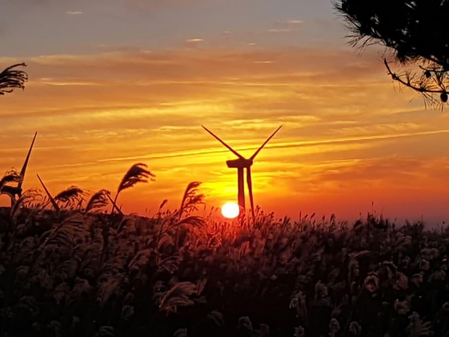 시간이 더해지느 마을 가시리 마을목장과 풍력발전