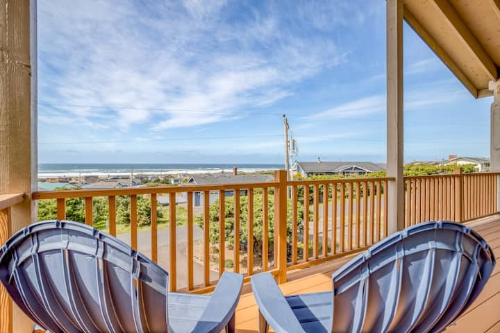 Panoramic Ocean Views From this Spacious, Delightful Bayshore Home with Double Decks and Downstairs Retreat!