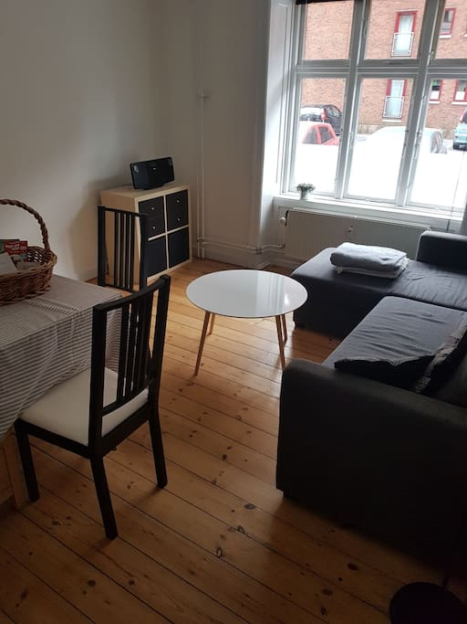 Living room; Table and sleeping couch (2 person's)