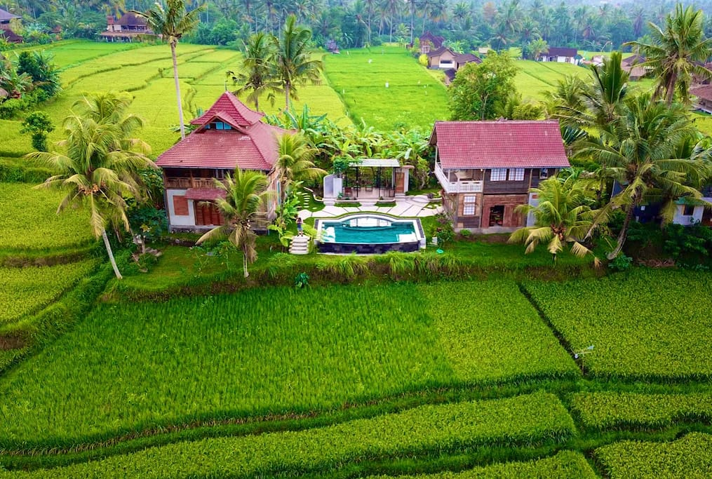 Drone footage showing the two villas and shared pool