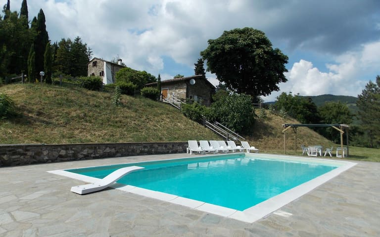 Panoramic restored Tuscan farmhouse with pool