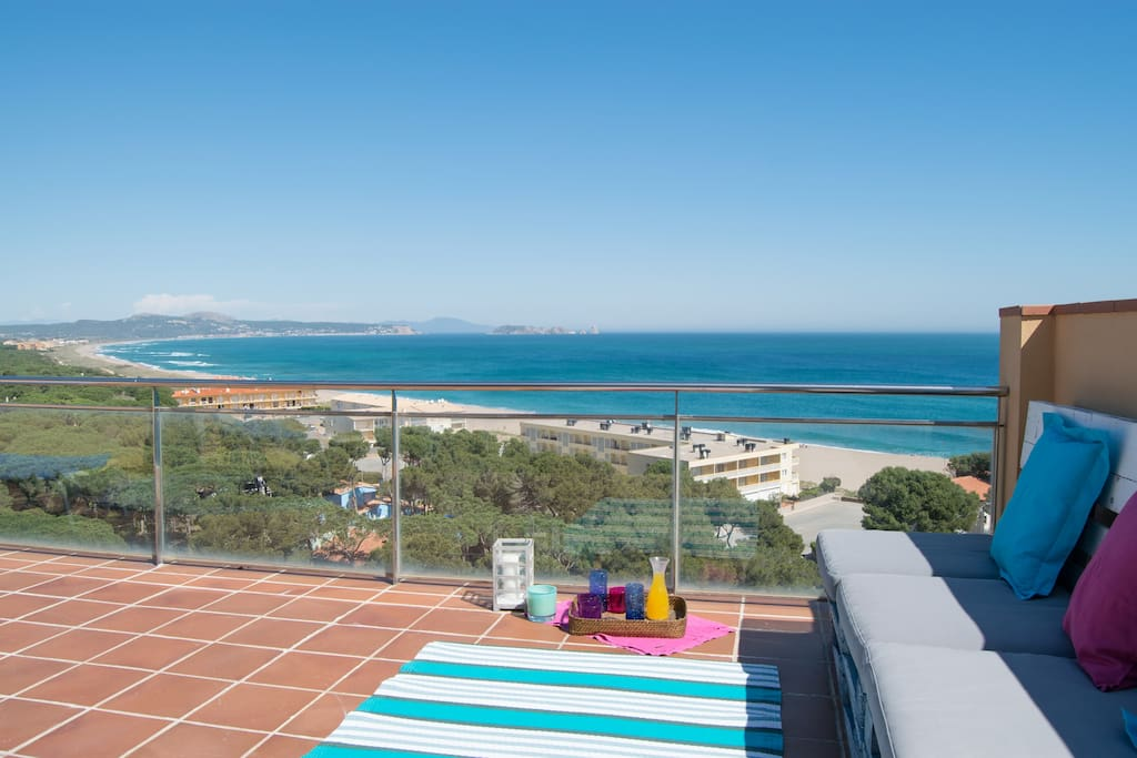 sun terrace with spectacular sea views-SA PUNTA COSTA BRAVA