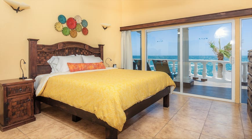 Ocean view bedroom #2 also has a king size memory foam mattress,  premium bedding and an equally exceptional view!