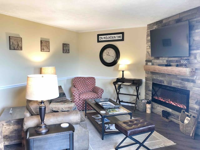 Family room with pull out queen sofa.
