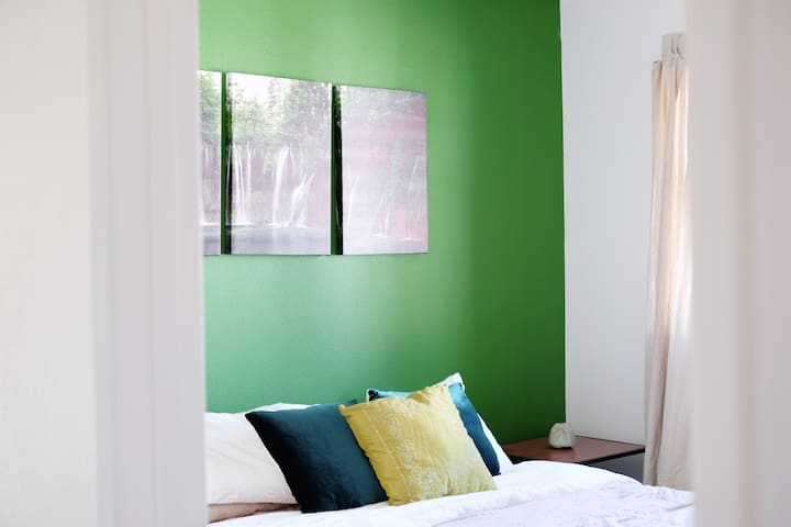Green Minimalist Private Room in town