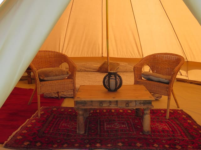 Bell Tent at Moonacre Alpacas, Devon