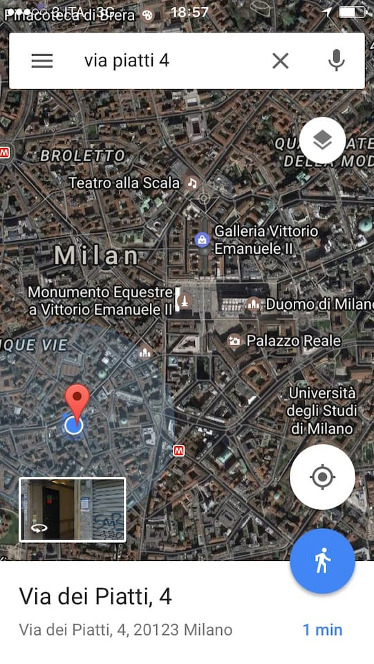 """Real Location Milan center (Bramante's is the architect who also did Santa Maria delle Grazie where is Leonardo's """"last supper"""" and San Peter in Rome) is Palazzo Pozzobonelli AD 1400 believed to be on same site of former Roman's Imperial palace, whose entrance was nearby, where San Lorenzo columns movida place still are) BUT very SILENT (bird chirping and Saint Alessandro church tower bel marching hours like in a countryside  monastery and VERY safe due to neighbor gold craft video surveillance"""