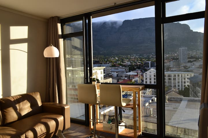 """Afternoon view of the Table Mountain with its classic """"Table Cloth"""""""