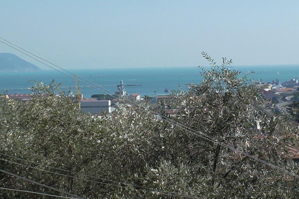 La vista dal terrazzo della casa. The view from the terrace of the house. La vue depuis la terrasse de la maison