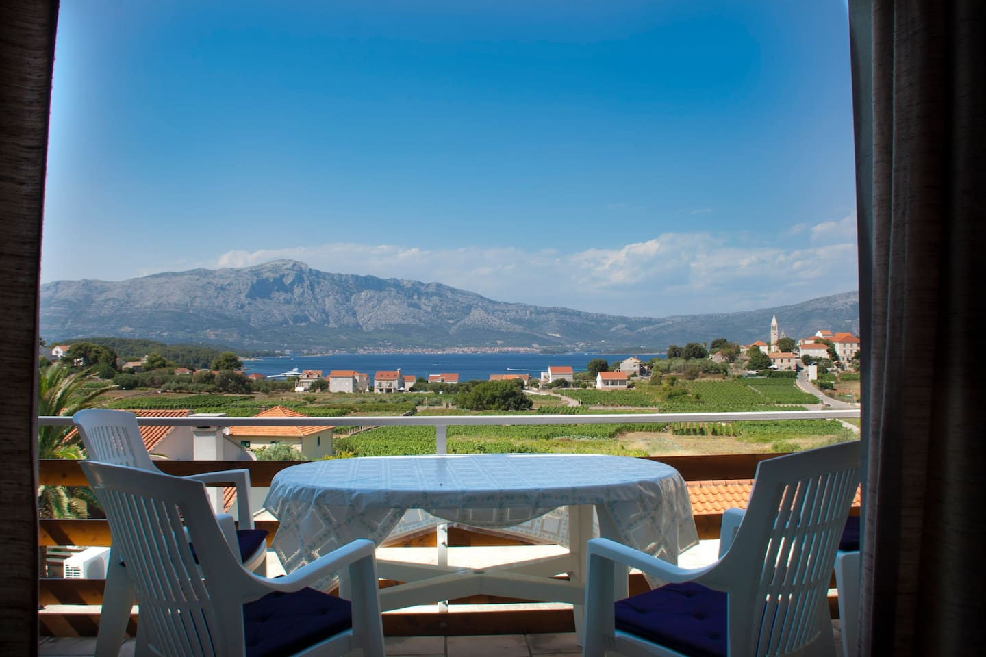 Balcony with room for 6 persons. Magnificent view from South side of house, place where you can drink wine with people you love and watch sunrise and sunset.