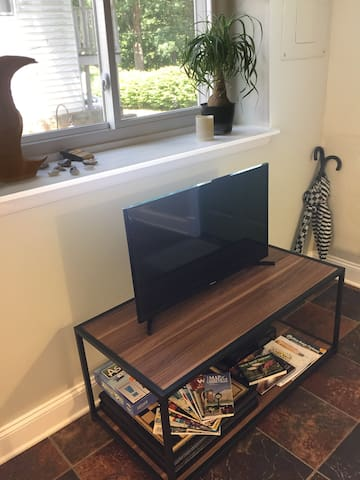 This is a smart TV, so feel free to use your Netflix or other streaming account. Free Wi-Fi is included. We also provide a chessboard and an assortment of travel brochures.
