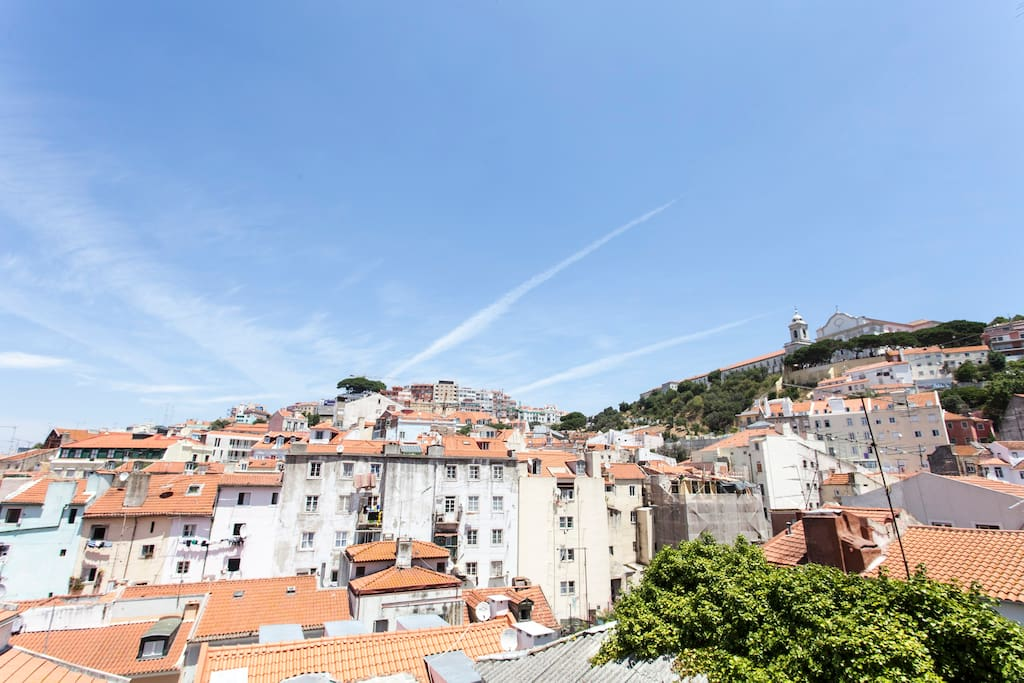 View of old Lisbon from french balcony