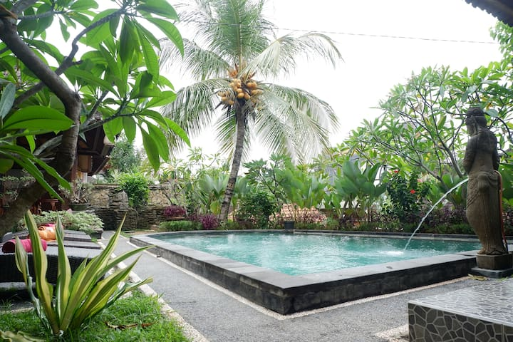 A new room by pool side @budi house in centralubud