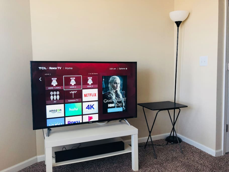 """42"""" Roku Smart TV, complete with Netflix, Hulu, and more. Look for the Airbnb Guest profile!"""