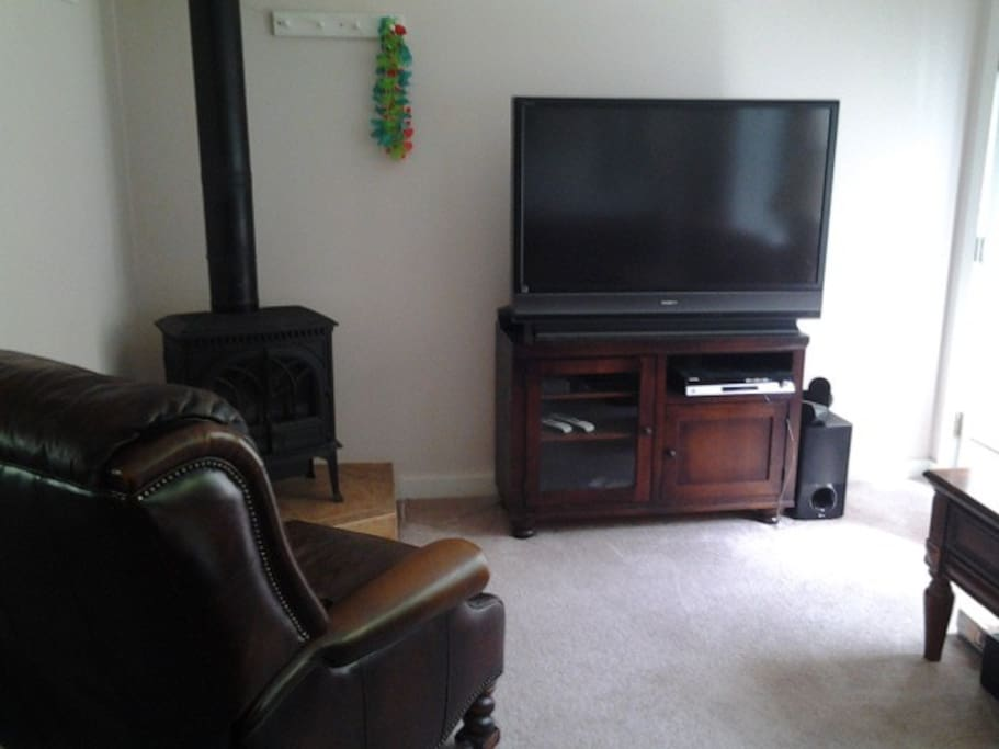 L.R. TV and gas fireplace