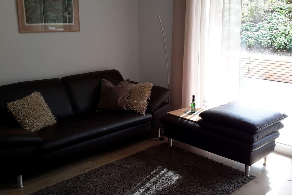 Helles Wohnzimmer mit bequemer Leder Couch und Zugang zur großen Terrasse