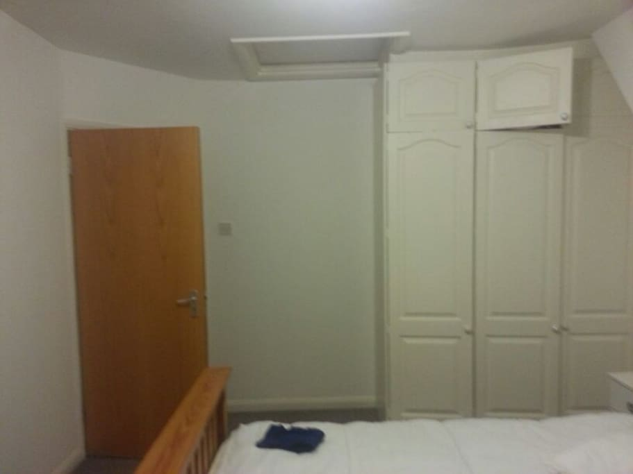Spacious wardrobe and clean beddings