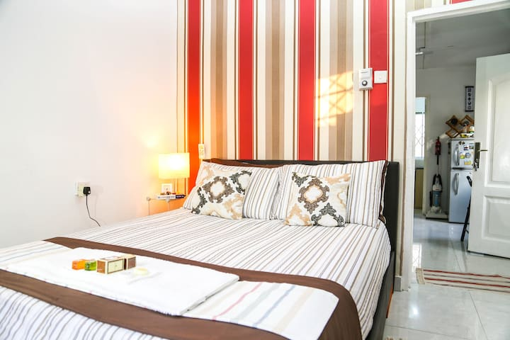 An air conditioned cosy bedroom, for your comfort.