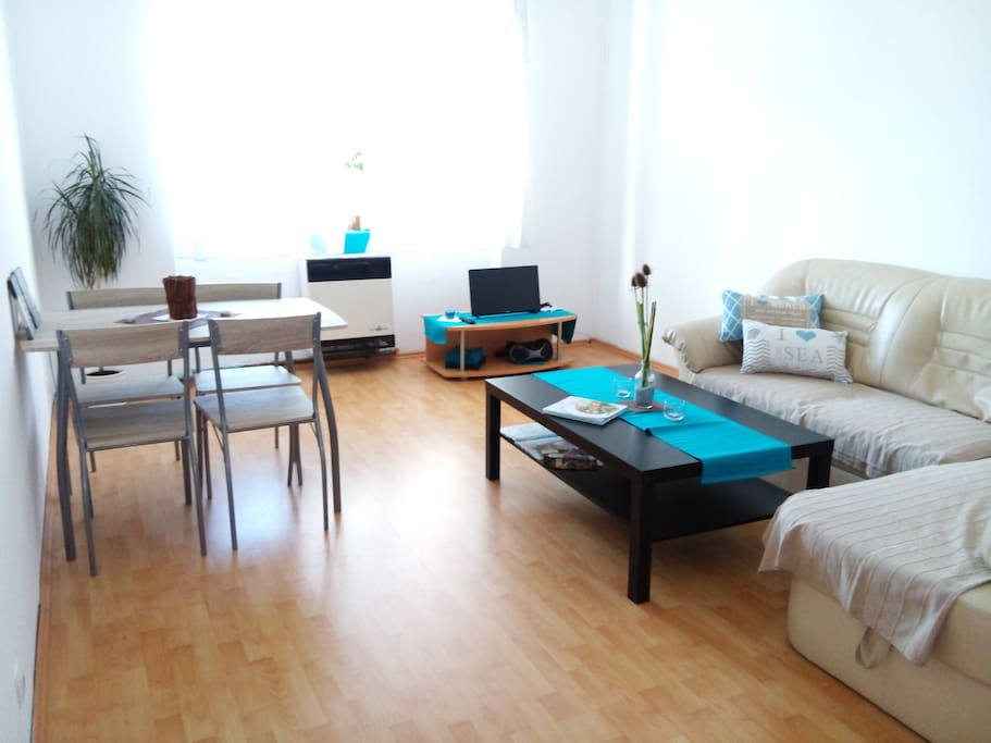 Spacious living room, fold out couch, Tv, internet, cd player/radio, maps of Prague, table set up