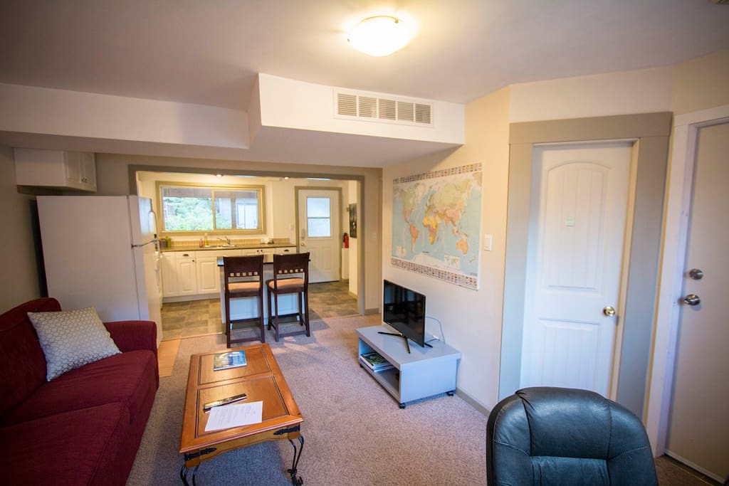 Spacious living room with shared laundry access
