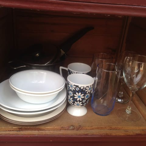 Pots, pans, dishes and utensils for your use