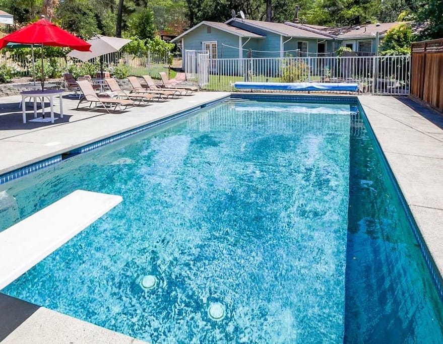 A glittering pool awaits in your private back yard