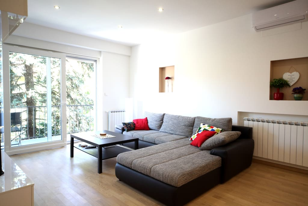 Extendable couch in the living area which can accommodate two people.