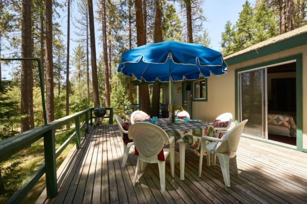 Spacious Deck with patio furniture and BBQ