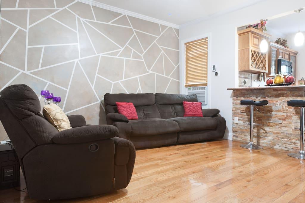 Reclining sofas plus available queen air mattress