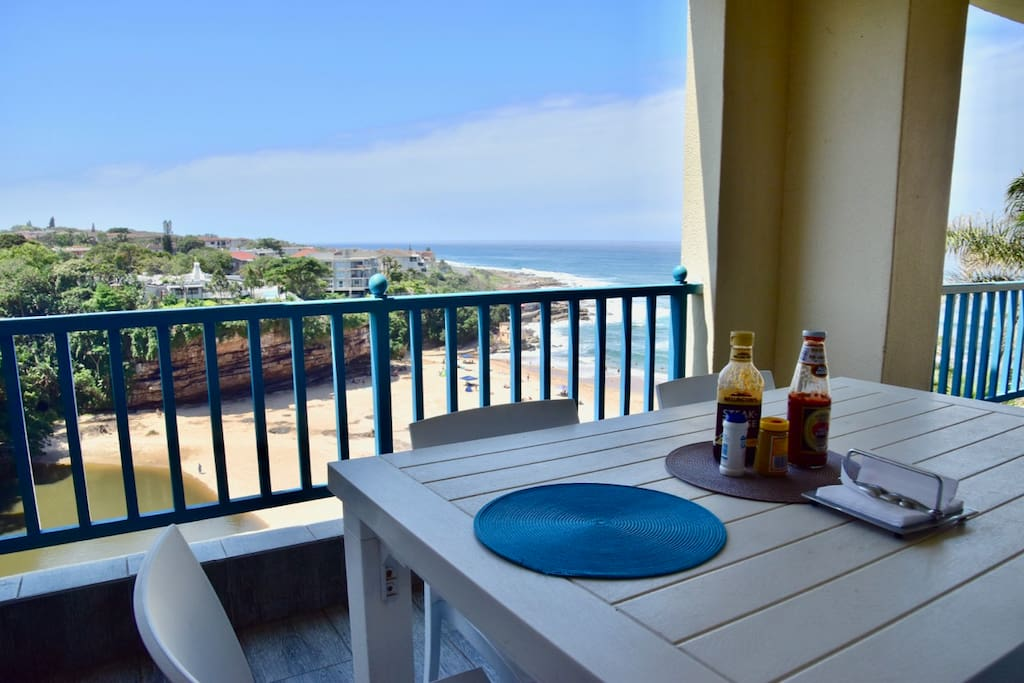 The dining table on the balcony offers great views to enjoy with your meals. A gas barbecue is also supplied on the balcony