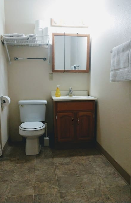 Bathroom with Tub and cabinet space