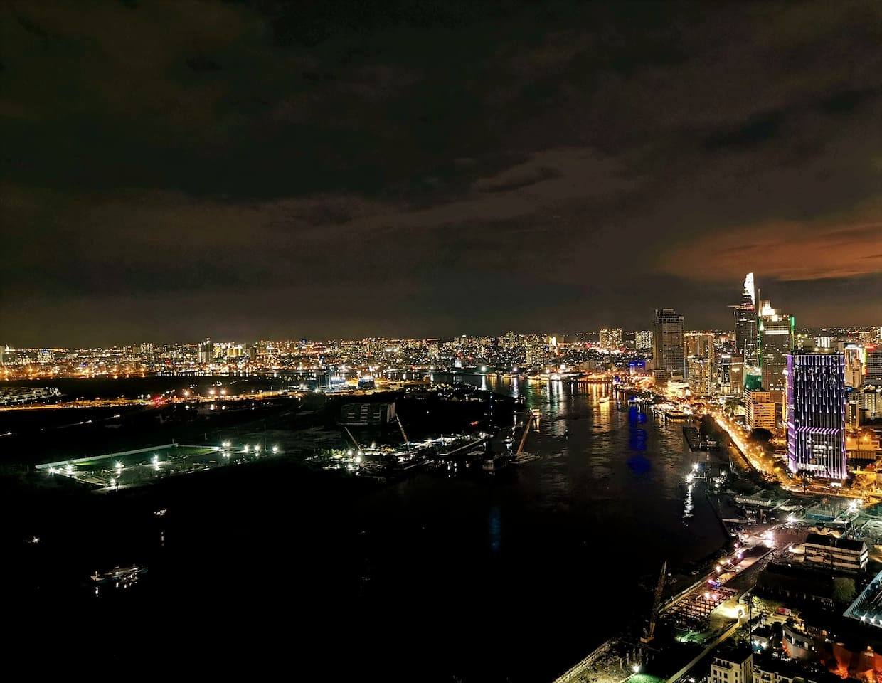 Amazing View of City and Saigon River at Balcony.