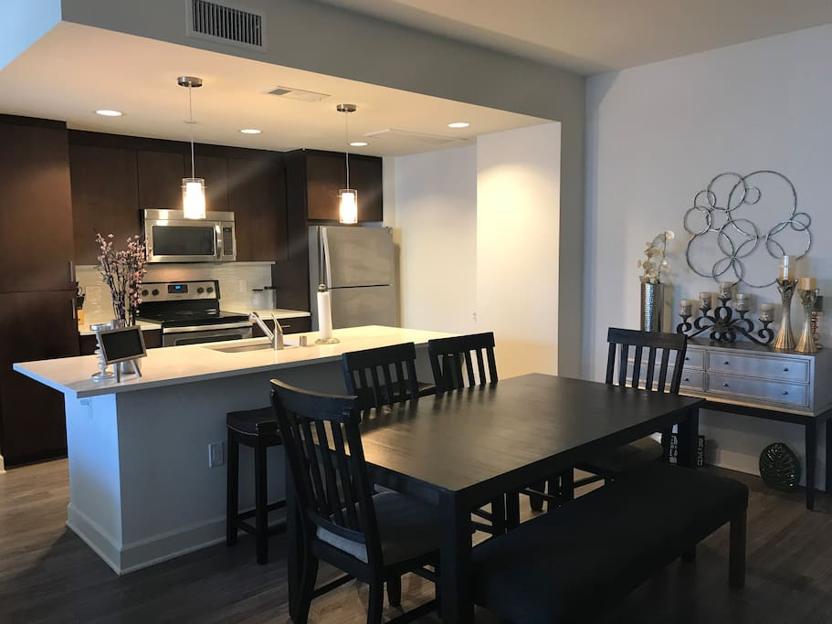 Kitchen and open dining area
