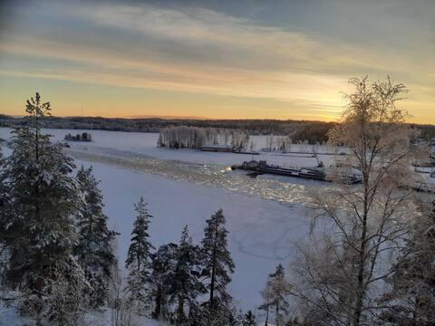 Studio with a view to lake Saimaa