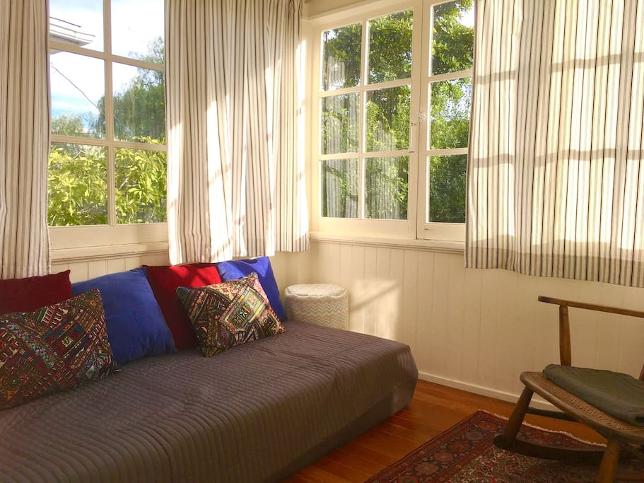 single day bed in cozy sun room off bedroom (perfect for reading and naps!)