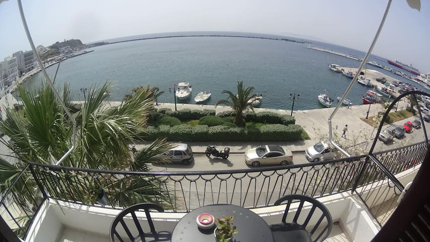 Tinos port sea view apartment